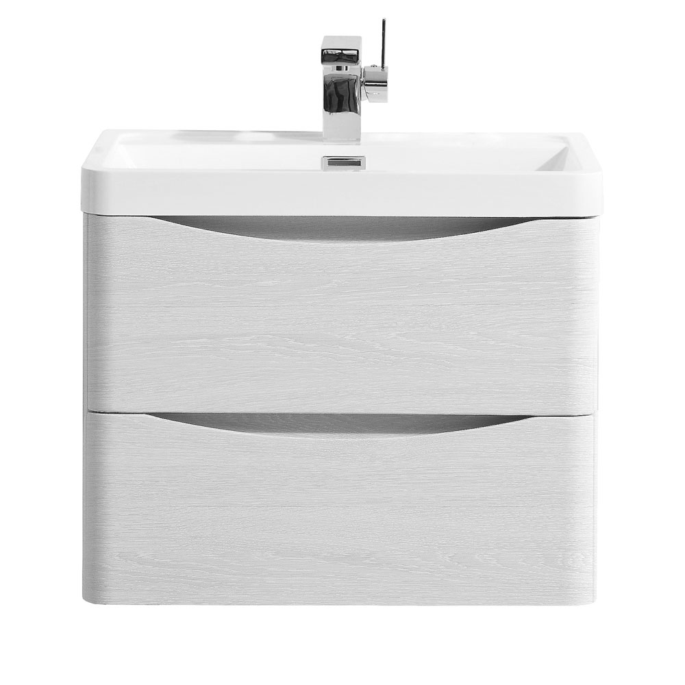 Ronda White Ash 600mm Wide Wall Mounted Vanity Unit Large Image
