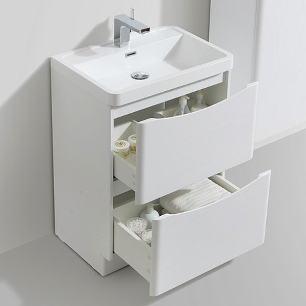 Ronda White Ash 600mm Wide Floor Standing Vanity Unit profile large image view 2