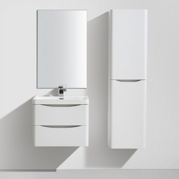 Ronda White Ash 600mm Wide Wall Mounted Vanity Unit Feature Large Image