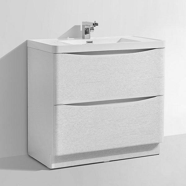 Ronda White Ash 900mm Wide Floor Standing Vanity Unit profile large image view 5