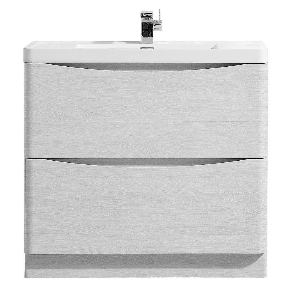 Ronda White Ash 900mm Wide Floor Standing Vanity Unit profile large image view 1