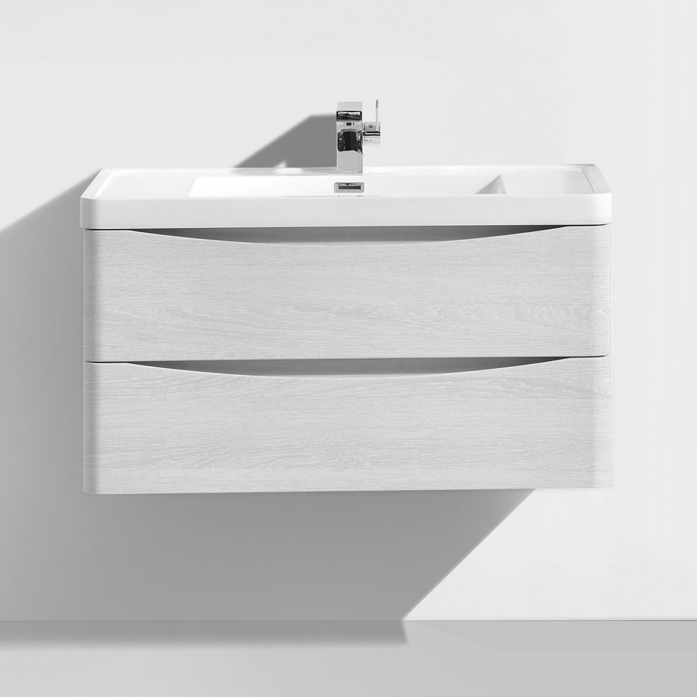 Ronda White Ash 900mm Wide Wall Mounted Vanity Unit In Bathroom Large Image