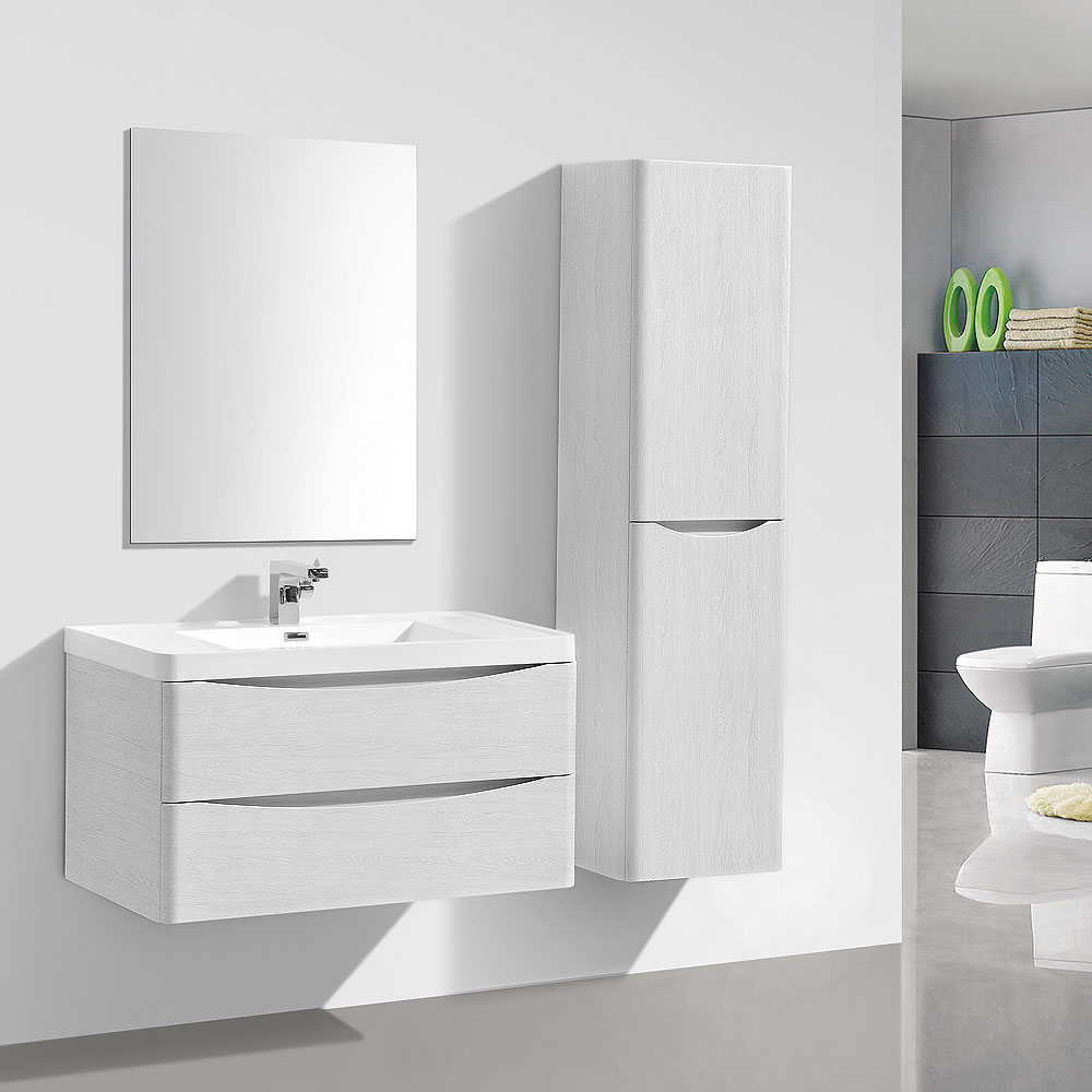 Ronda White Ash 900mm Wide Wall Mounted Vanity Unit additional Large Image