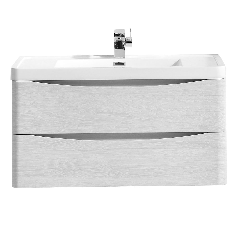 Ronda White Ash 900mm Wide Wall Mounted Vanity Unit Large Image