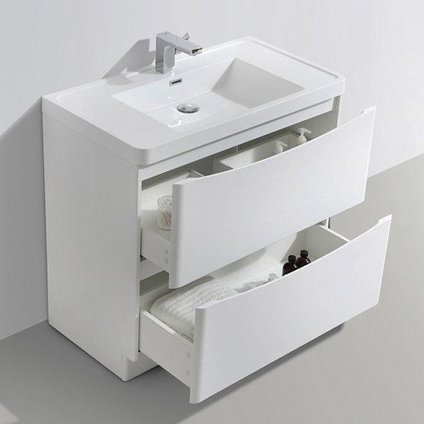 Ronda White Ash 900mm Wide Floor Standing Vanity Unit profile large image view 3