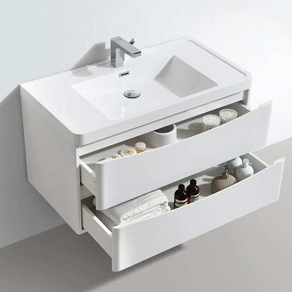 Ronda White Ash 900mm Wide Wall Mounted Vanity Unit Profile Large Image