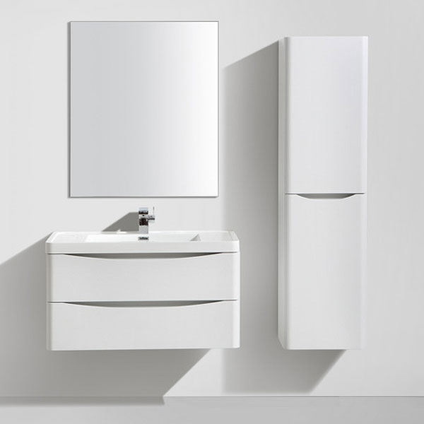 Ronda White Ash 900mm Wide Wall Mounted Vanity Unit Feature Large Image