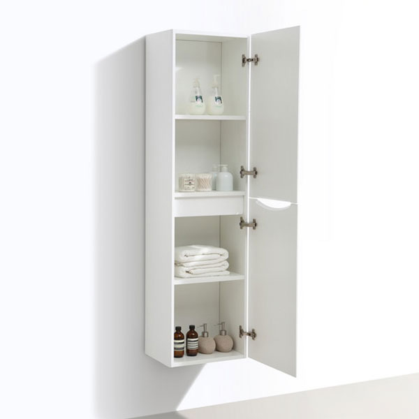 Ronda White Ash Tall Wall Hung Storage Unit - 1500mm High Profile Large Image