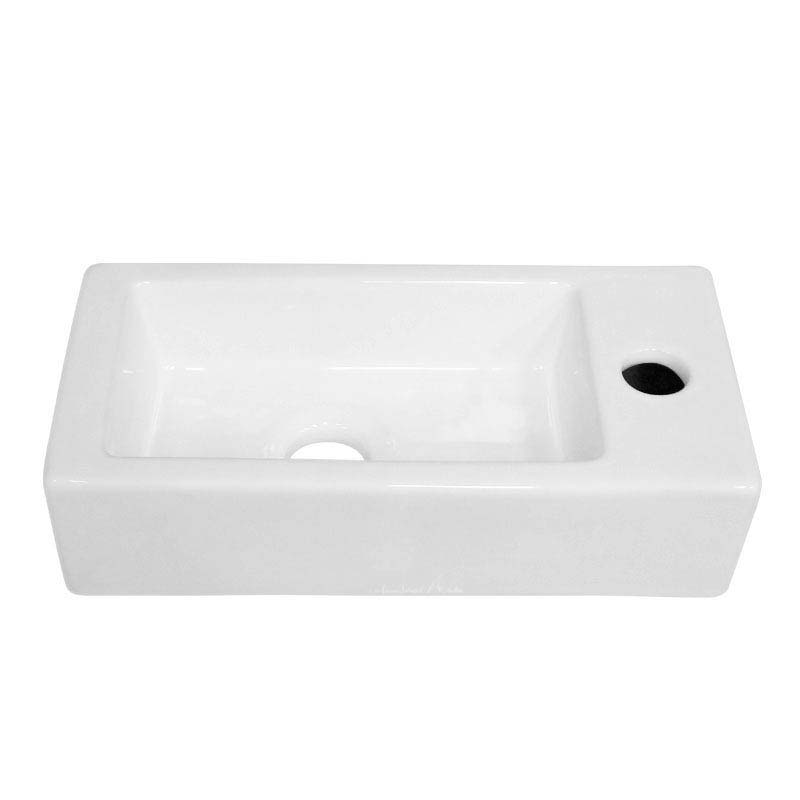 Rondo Wall Hung Small Cloakroom Basin 1TH - 365 x 185mm  Feature Large Image