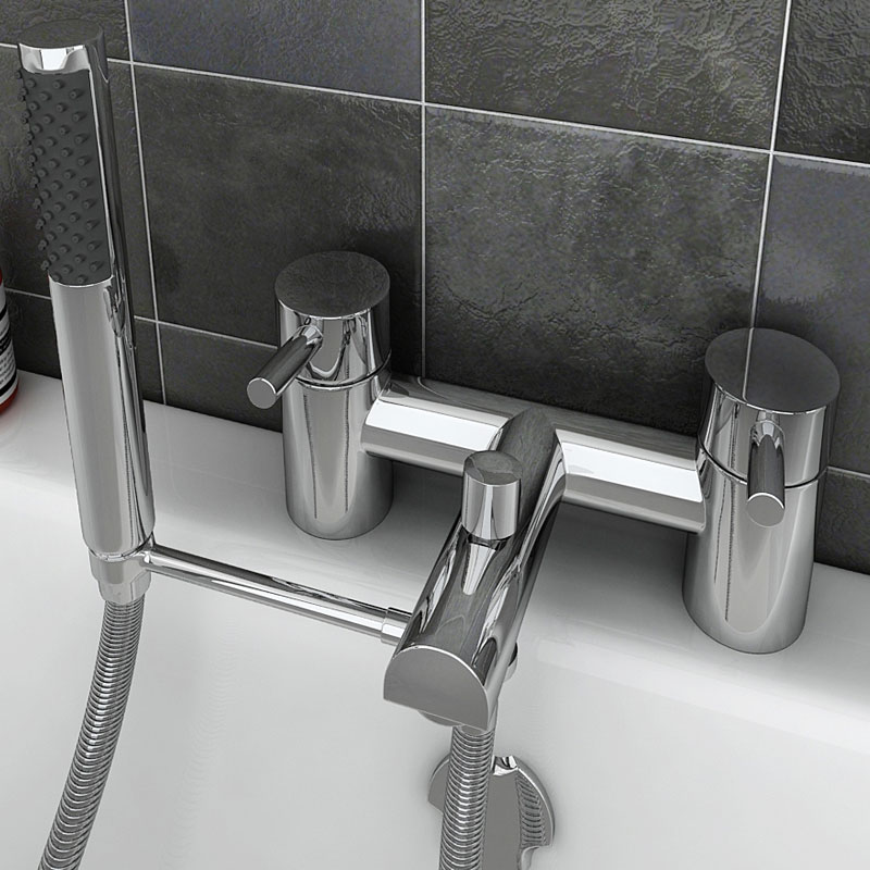 Round Bath Shower Mixer Handset Holder Arm profile large image view 3