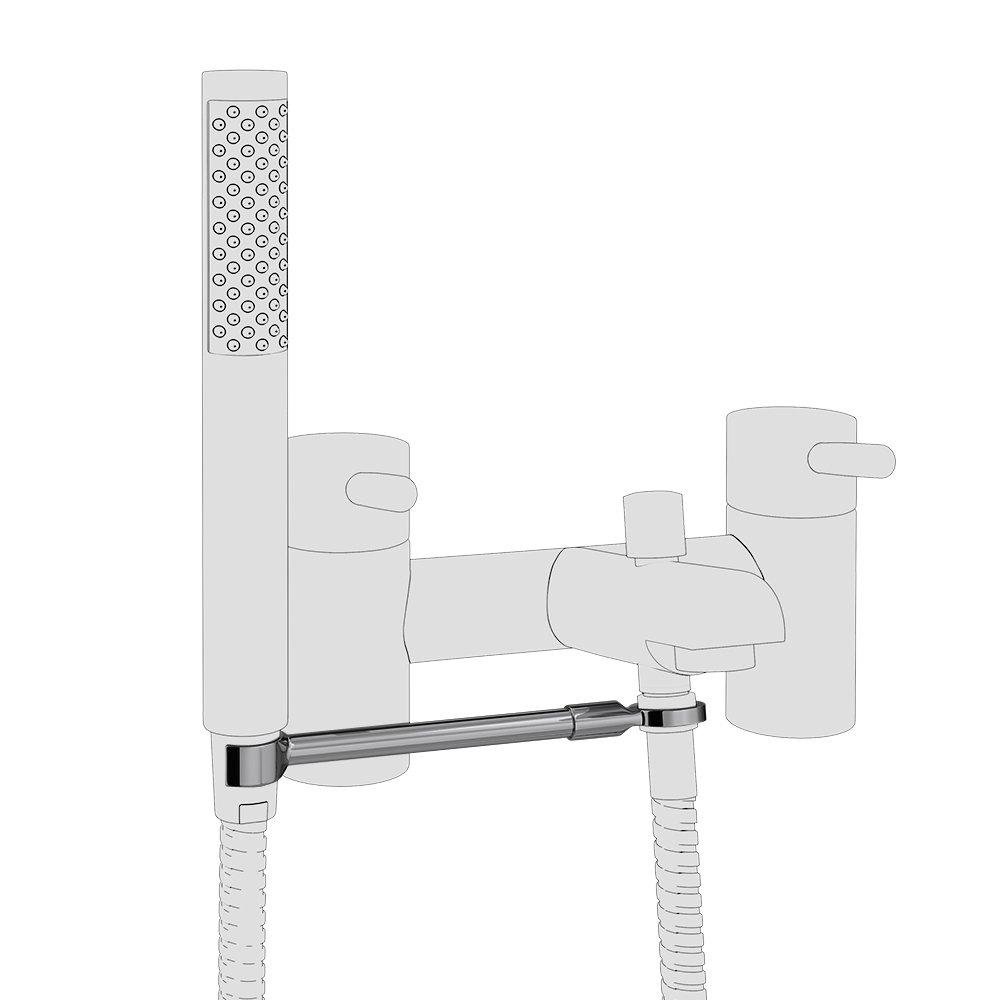 Round Bath Shower Mixer Handset Holder Arm profile large image view 1