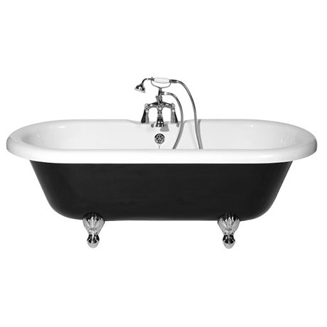 Rydal black 2th double ended roll top bath victorian for Chatsworth bathroom faucet parts
