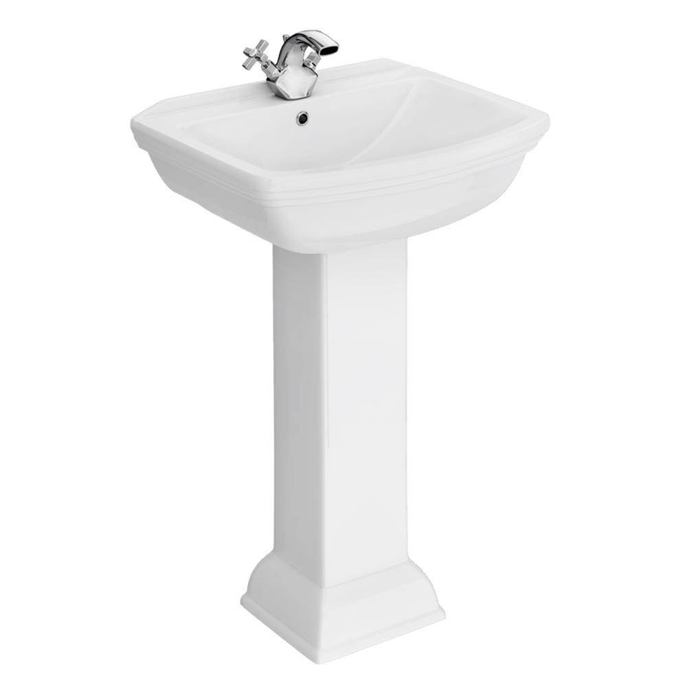 Rydal Traditional Basin + Pedestal (1 Tap Hole) Large Image