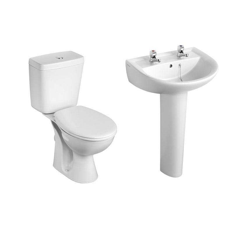 Armitage Shanks - Sandringham21 Toilet and 2TH Basin To Go Boxed Pack - S049401 Large Image