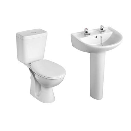 Armitage Shanks - Sandringham21 Toilet and 2TH Basin To Go Boxed Pack - S049401