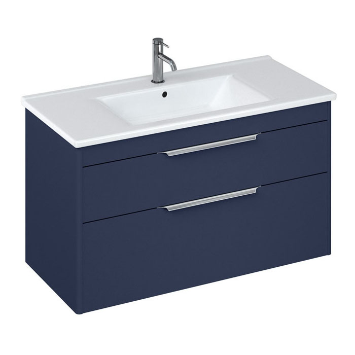 Britton Shoreditch 1000mm Wall-Hung Double Drawer Vanity Unit - Matt Blue