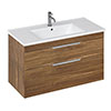 Britton Shoreditch 1000mm Wall-Hung Double Drawer Vanity Unit - Caramel profile small image view 1