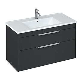 Britton Shoreditch 1000mm Wall-Hung Double Drawer Vanity Unit - Matt Grey