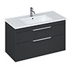 Britton Shoreditch 1000mm Wall-Hung Double Drawer Vanity Unit - Matt Grey profile small image view 1