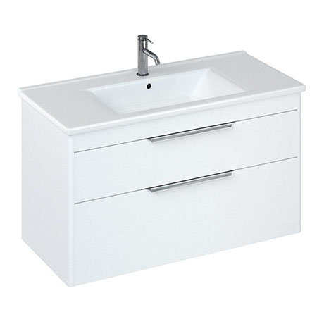 Britton Shoreditch 1000mm Wall-Hung Double Drawer Vanity Unit - Matt White