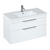 Britton Shoreditch 1000mm Wall-Hung Double Drawer Vanity Unit - Matt White profile small image view 1