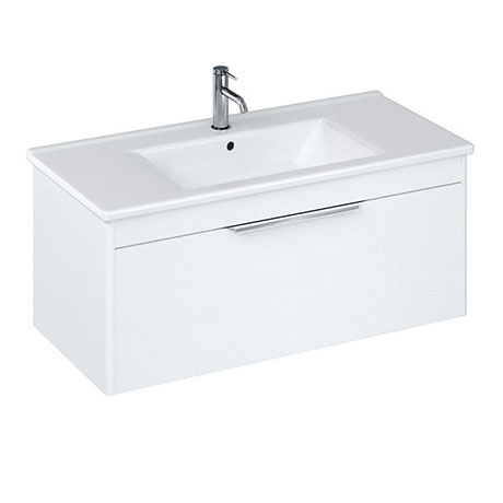 Britton Shoreditch 1000mm Wall-Hung Single Drawer Vanity Unit - Matt White