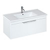 Britton Shoreditch 1000mm Wall-Hung Single Drawer Vanity Unit - Matt White profile small image view 1
