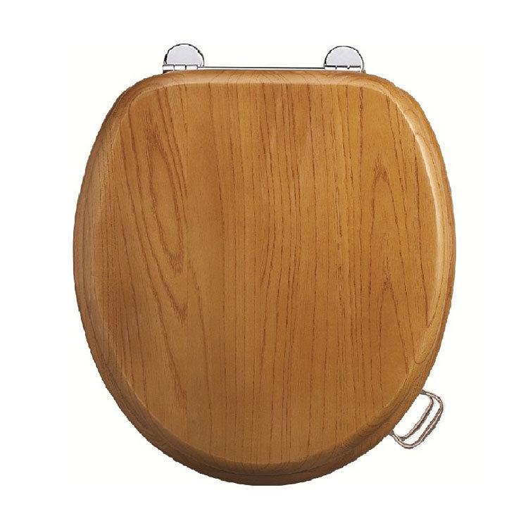 Burlington Bar Hinged Golden Oak Toilet Seat with Lift Handles Large Image