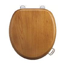 Burlington Bar Hinged Golden Oak Toilet Seat with Lift Handles Medium Image