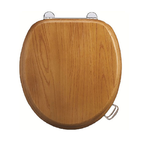 Burlington Bar Hinged Golden Oak Toilet Seat with Lift Handles