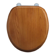 Burlington Bar Hinged Golden Oak Toilet Seat - S11 Medium Image