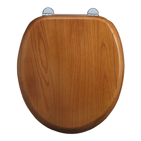 Burlington Bar Hinged Golden Oak Toilet Seat - S11