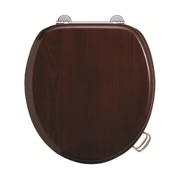 Burlington Bar Hinged Mahogany Toilet Seat with Lift Handles Large Image