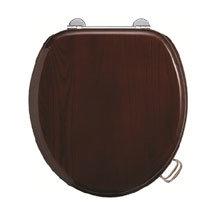 Burlington Bar Hinged Mahogany Toilet Seat with Lift Handles Medium Image