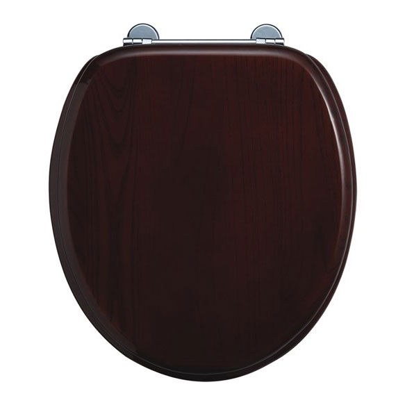 Burlington Bar Hinged Mahogany Toilet Seat - S12 Large Image