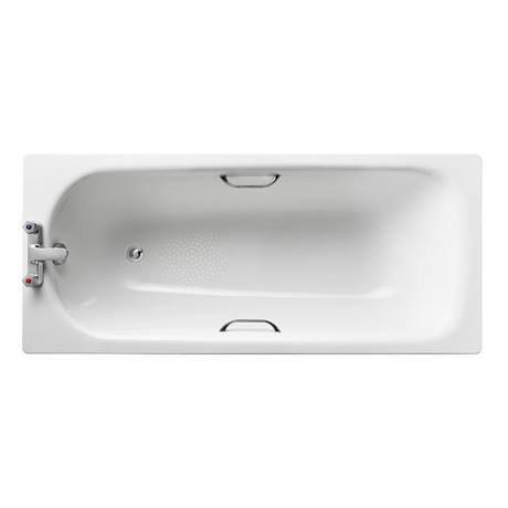 Armitage Shanks Sandringham 21 1600 x 700mm 2TH Steel Bath with Handgrips & Anti-Slip - S183401