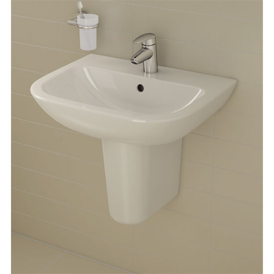 Vitra - S20 Wall Mounted Basin and Half Pedestal - 1 Tap Hole - 5 x Size Options Profile Large Image