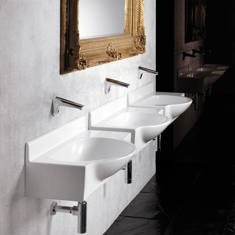 Armitage Shanks - Airside 80cm Semi-recess basin & Shelf - 2 x Tap Hole Options Profile Large Image