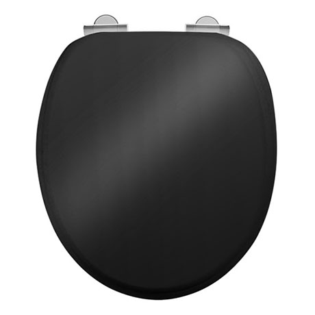 Burlington Soft Close Toilet Seat with Chrome Hinges - Gloss Black