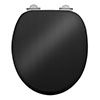 Burlington Soft Close Toilet Seat with Chrome Hinges - Gloss Black profile small image view 1