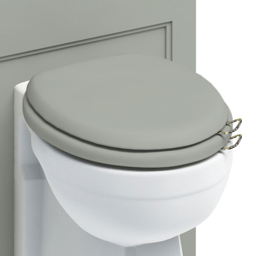 Burlington Soft Close Toilet Seat with Chrome Hinges and Handles - Dark Olive profile large image view 2