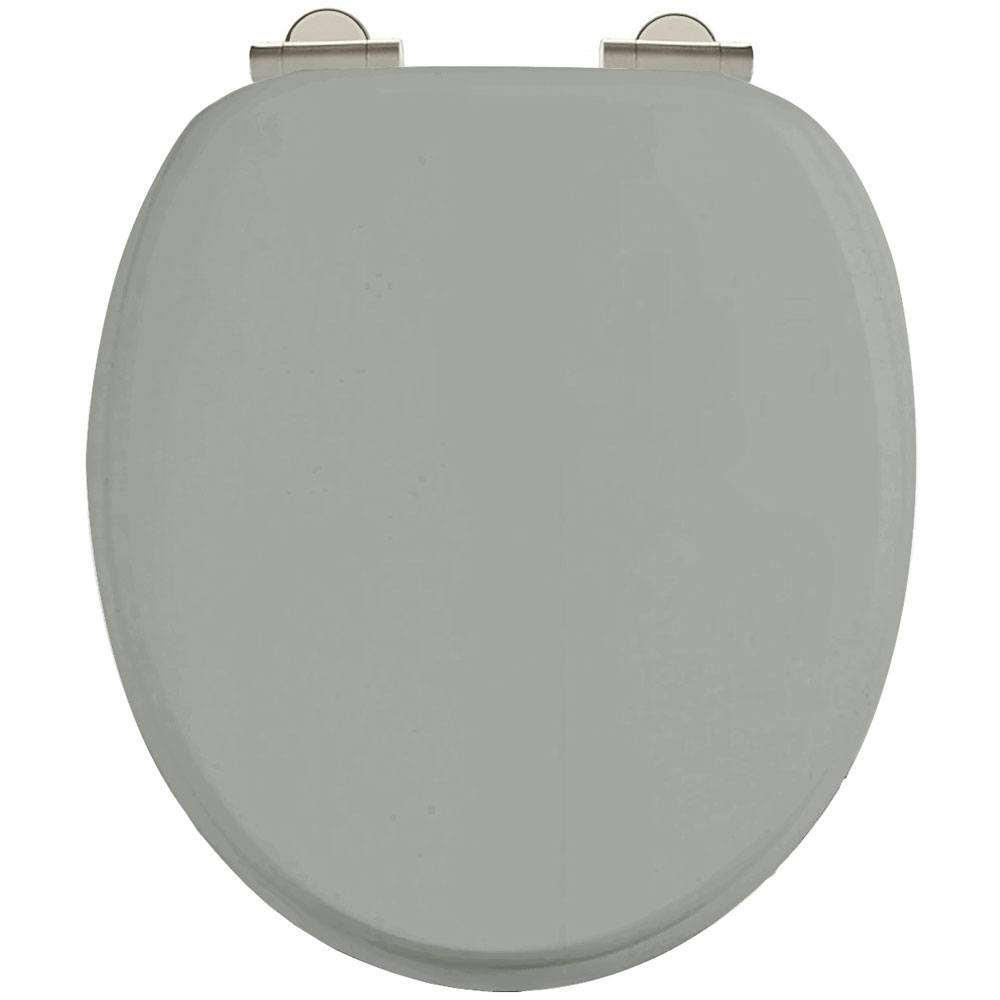 Burlington Soft Close Toilet Seat with Chrome Hinges - Dark Olive profile large image view 1
