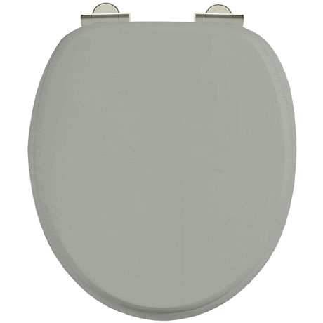 Burlington Soft Close Toilet Seat with Chrome Hinges - Dark Olive