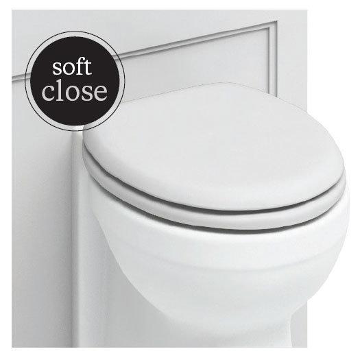 Burlington Soft Close Toilet Seat with Chrome Hinges - Matt White profile large image view 2