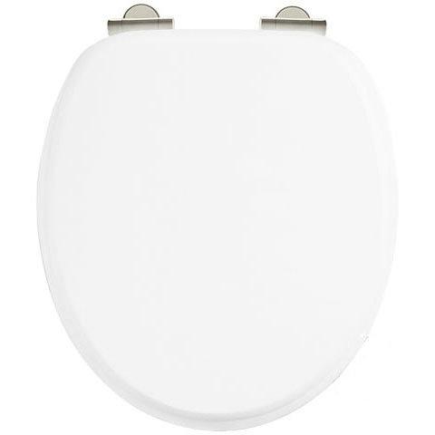 Burlington Soft Close Toilet Seat with Chrome Hinges - Matt White