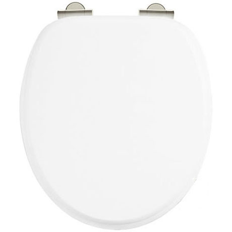 Burlington Soft Close Toilet Seat with Chrome Hinges - Matt White