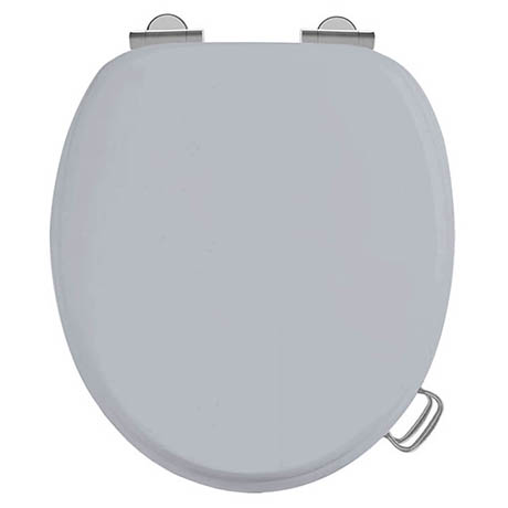Burlington Soft Close Toilet Seat with Chrome Hinges and Handles - Classic Grey