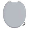 Burlington Soft Close Toilet Seat with Chrome Hinges and Handles - Classic Grey profile small image view 1