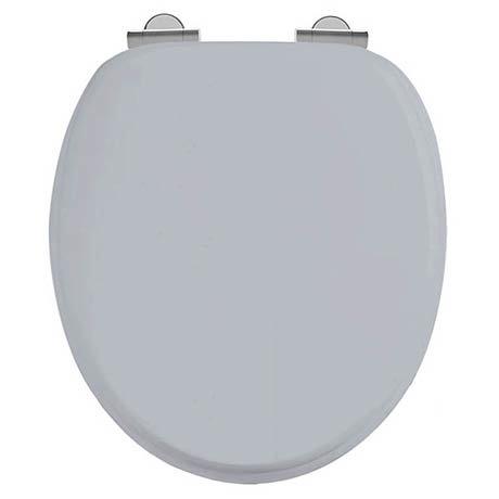 Burlington Soft Close Toilet Seat with Chrome Hinges - Classic Grey