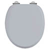 Burlington Soft Close Toilet Seat with Chrome Hinges - Classic Grey profile small image view 1